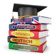 Stock Illustration of language textbooks