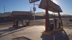 Abandoned Derelict Gas Station On Rural Highway Stock Footage