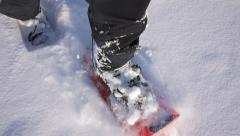 Walk by snowshoes in deep snow stabilized version - stock footage