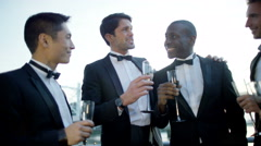4K Male friends or business colleagues, chatting at formal social event - stock footage