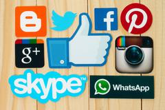 KIEV, UKRAINE - FEBRUARY 19, 2015:Collection of popular social media logos pr - stock photo