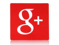 Stock Photo of Google plus logotype on white background.
