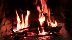 Whole fireplace real-time close-up - stock footage