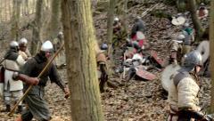 medieval battle - war - group of soldiers walking - stock footage