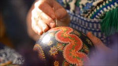 Painting a sorbian easter egg Stock Footage