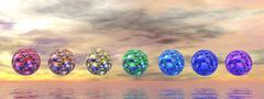 Chakra spheres - 3D render Stock Illustration