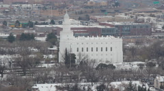 St George Utah LDS Mormon Temple with Winter Snow - stock footage