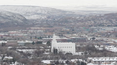 St George Utah Mormon Temple in Snow Stock Footage