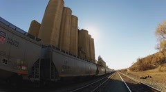 Low Angle Grain Elevator With Train- Victorville CA - stock footage