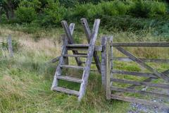 Latter Stile, style, steps up and over fence Stock Photos