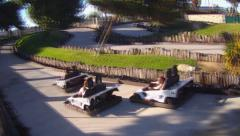 Teenage Girls Crash Go Kart Cars- Victorville California Stock Footage