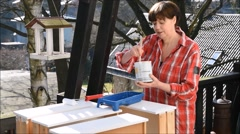 Painting drawers Stock Footage