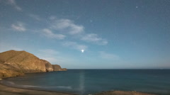 Star lapse night stars morocco coast low light amazing Stock Footage