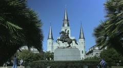 St. Louis Cathedral and Jackson Statue at Jackson Square Stock Footage