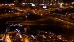 Transport traffic highway Night Scene Time Lapse 15s Stock Footage