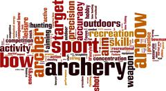 Archery word cloud - stock illustration