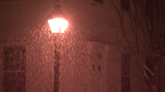 Snowfall and light post Stock Footage