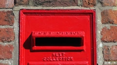 Red Post Box English close up Stock Footage