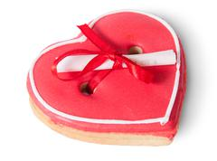 Cookies heart with note Stock Photos