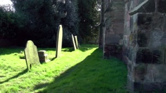 Stock Video Footage of pathway churchyard graveyard gravestones