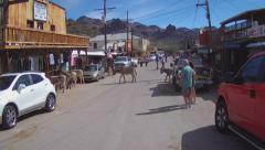 Motorcyclist Viewpoint Riding Thru Oatman Arizona Stock Footage