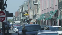 French Quarter Street in New Orleans 01 with Flat Color Profile Stock Footage
