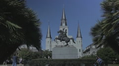 St. Louis Cathedral and Jackson Statue at Jackson Square with Flat Color Profile Stock Footage