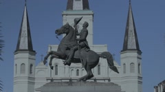 Andrew Jackson Statue in Jackson Square with Flat Color Profile Stock Footage