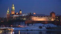 View of  Wawel castle and  Vistula River in Krakow in winter night Stock Footage
