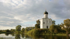 Church of  Intercession of  Holy Virgin on the Nerl River, Russia Stock Footage