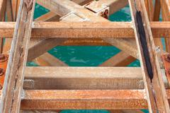 Metal construction, pier - stock photo