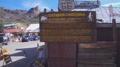 Oatman Arizona Sign Telling History Of Town Stock Footage