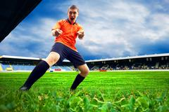 Happiness football player after goal on the field of stadium wit - stock photo