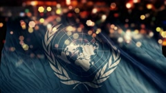 United Nations UN Flag Light Night Bokeh Abstract Loop Animation 4K - stock footage