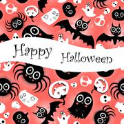 Funny halloween background Monsters Stock Illustration