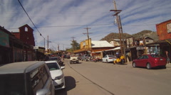 Traffic On Route 66 Main Street- Oatman Arizona Stock Footage