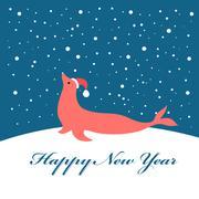Christmas greeting card with fur seal - stock illustration