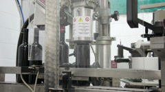 Automatic machine for packing of bottles with wine Stock Footage