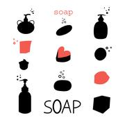 Icons soap - stock illustration