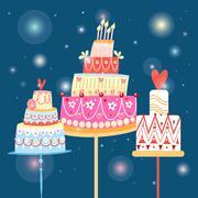 celebration cakes - stock illustration