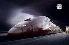 Stock Photo of High-speed train with motion blur outdoor