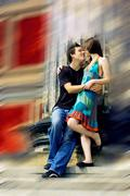 Stock Photo of Two happiness love young people on blur historical background