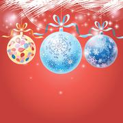 holiday multicolored Christmas balls - stock illustration