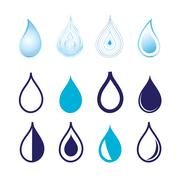 Set different graphics water drops - stock illustration