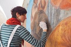 Stock Photo of Art conservation and restoration in the Franciscan Monastery