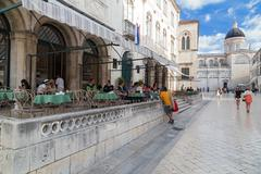 Guests sitting at terrace of Gradska kavana, famous coffee place. Stock Photos
