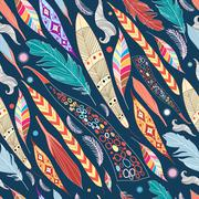 Leaves and feathers pattern Stock Illustration