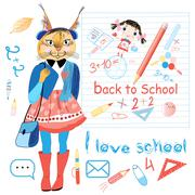 funny schoolgirl trot - stock illustration