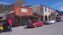 Wide Shot Pan Of Route 66 Main Street- Oatman Arizona Stock Footage