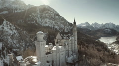 Aerial Germany Palace Neuschwanstein Stock Footage